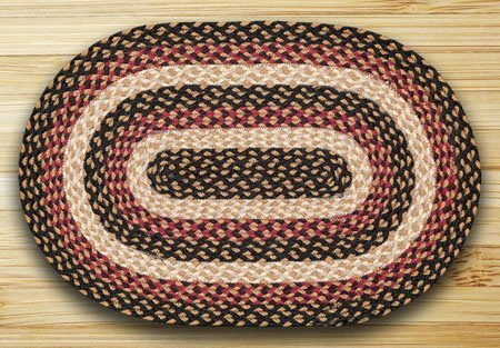 "Burgundy, Black & Dijon Oval Braided Rug 20""x30"" Thumbnail"