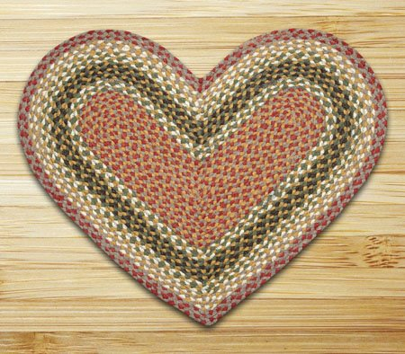 "Olive, Burgundy & Gray Heart Shaped Braided Rug 20""x30"" Thumbnail"
