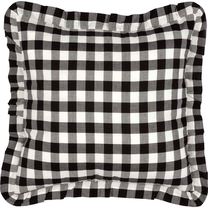 Annie Buffalo Black Check Fabric Pillow 18x18 Thumbnail