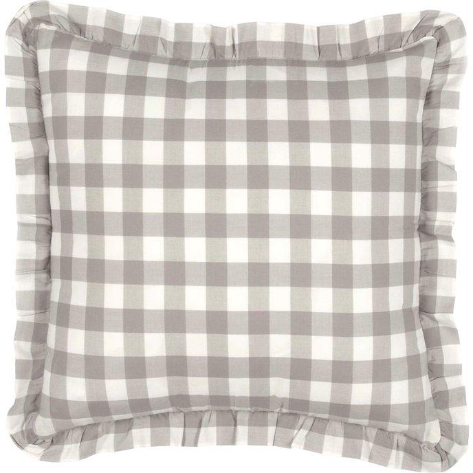Annie Buffalo Grey Check Fabric Pillow 18x18 Thumbnail