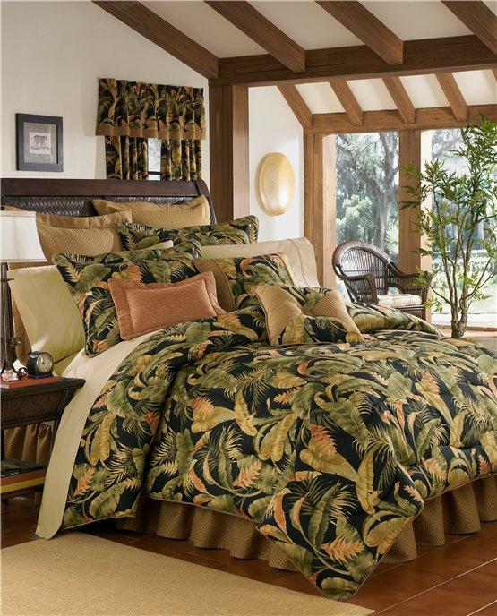 "La Selva Black Cal King Thomasville Comforter Set (15"" bedskirt) Thumbnail"