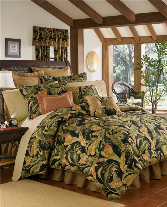 "La Selva Black Cal King Thomasville Comforter Set (18"" bedskirt) Thumbnail"