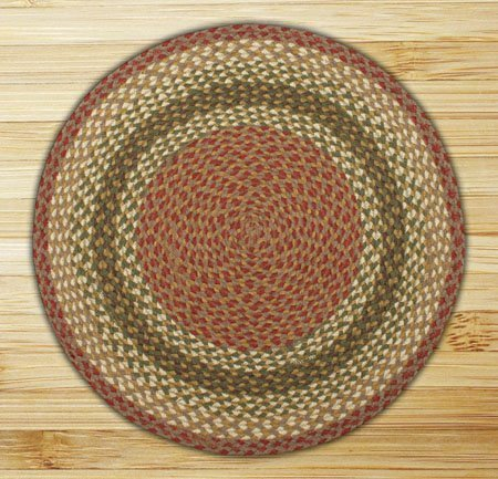 Olive, Burgundy & Gray Round Braided Rug 4'x4' Thumbnail