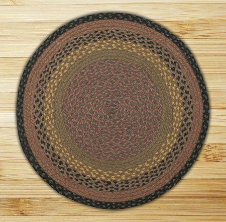Brown, Black & Charcoal Round Braided Rug 4'x4' Thumbnail