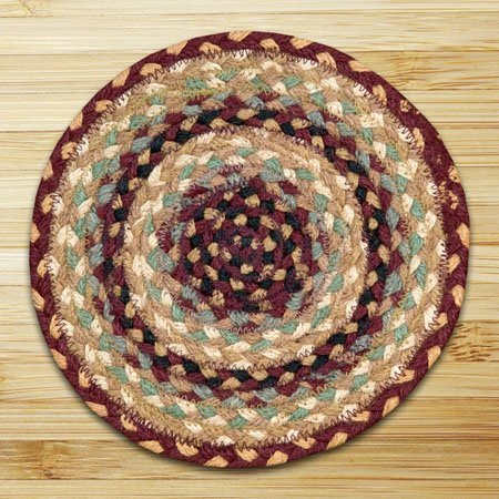 Burgundy, Gray & Cream Round Braided Rug 7.75'x7.75' Thumbnail