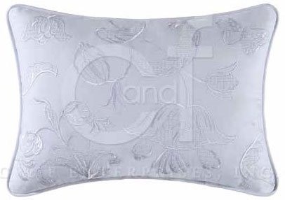 Eliza Lace Blue Embroidered White Pillow Thumbnail