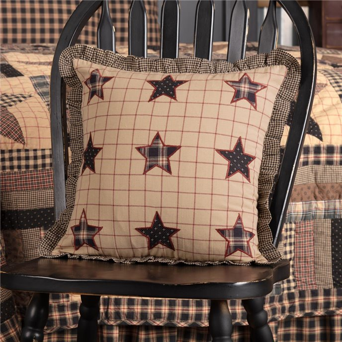 Bingham Star Fabric Pillow with Applique Stars 16x16 Thumbnail
