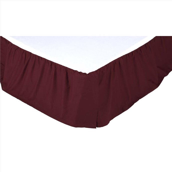 Solid Burgundy Twin Bed Skirt 39x76x16 Thumbnail