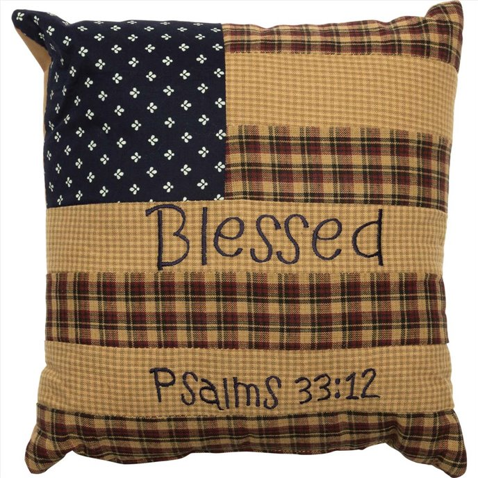 Patriotic Patch Pillow Blessed 10x10 Thumbnail