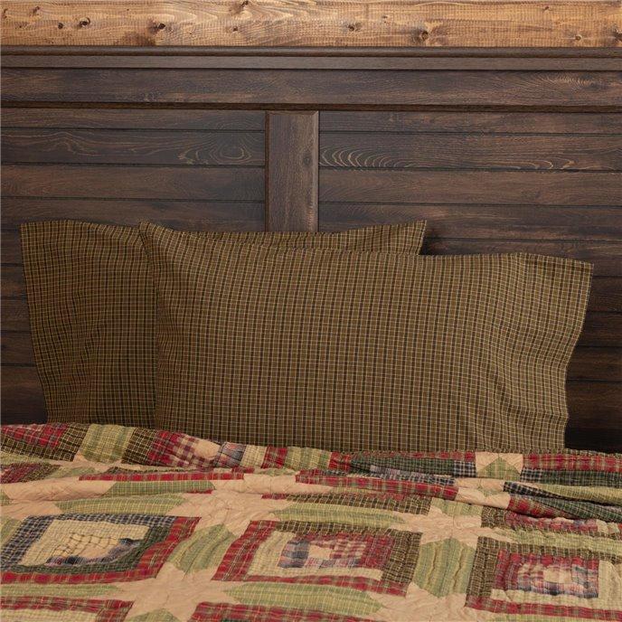 Tea Cabin Green Plaid Standard Pillow Case Set of 2 21x30 Thumbnail