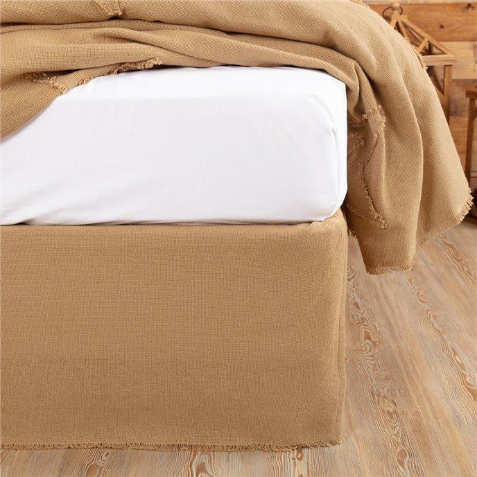 Burlap Natural Fringed King Bed Skirt 78x80x16 Thumbnail