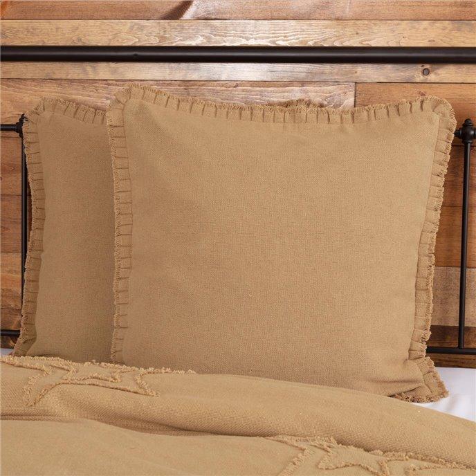Burlap Natural Fabric Euro Sham w/ Fringed Ruffle 26x26 Thumbnail
