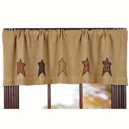 Stratton Burlap Applique Star Valance Thumbnail