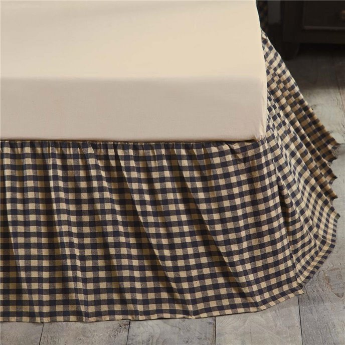 Navy Check King Bed Skirt 78x80x16 Thumbnail