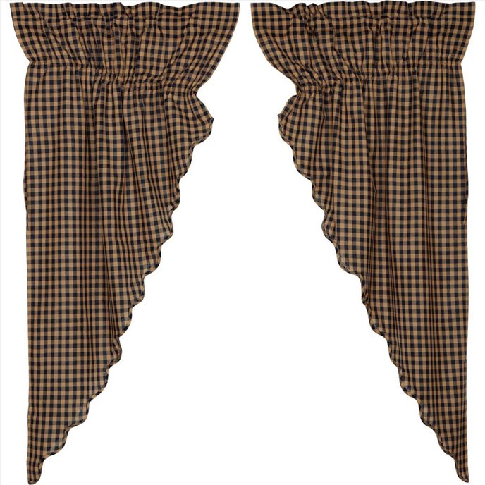 Navy Check Scalloped Prairie Curtain Set of 2 63x36 Thumbnail