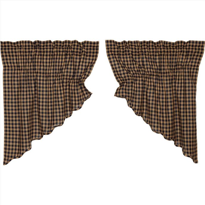 Navy Check Scalloped Prairie Swag Set of 2 36x36 Thumbnail