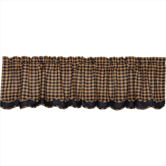 Navy Check Scalloped Layered Valance 16x72 Thumbnail