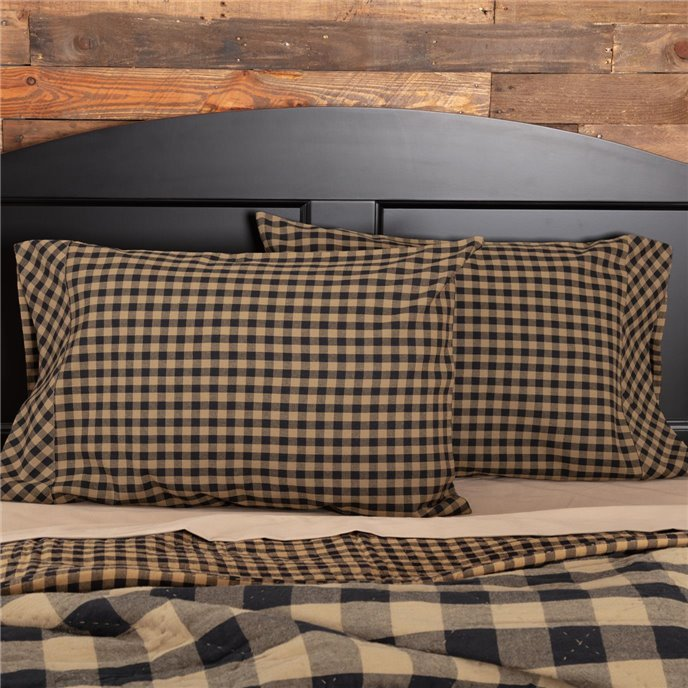Black Check Standard Pillow Case Set of 2 21x30 Thumbnail