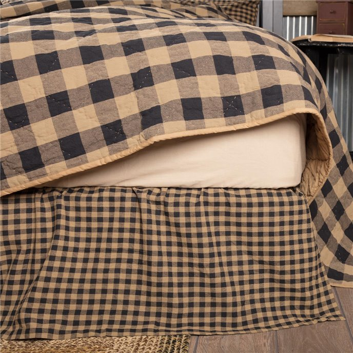 Black Check Twin Bed Skirt 39x76x16 Thumbnail
