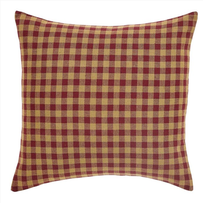 Burgundy Check Fabric Pillow 16x16 Thumbnail