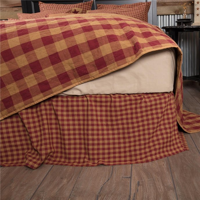 Burgundy Check King Bed Skirt 78x80x16 Thumbnail