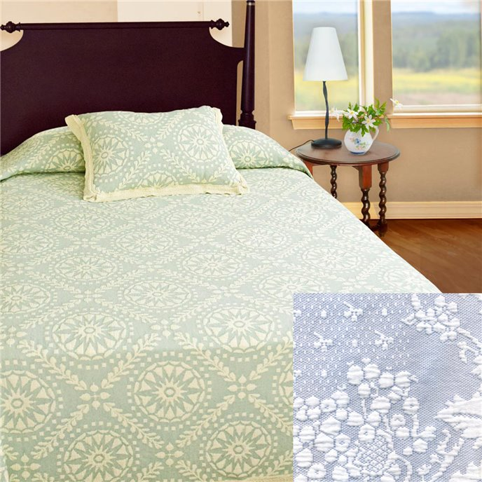 Americana King Wedgewood Blue Bedspread Thumbnail