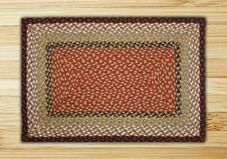 Burgundy & Mustard Rectangle Braided Rug 2'x6' Thumbnail
