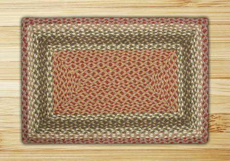Olive, Burgundy & Gray Rectangle Braided Rug 5'x8' Thumbnail
