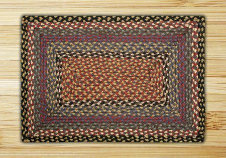 Burgundy, Blue & Gray Rectangle Braided Rug 3'x5' Thumbnail
