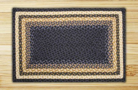 Light Blue, Dark Blue & Mustard Rectangle Braided Rug 3'x5' Thumbnail