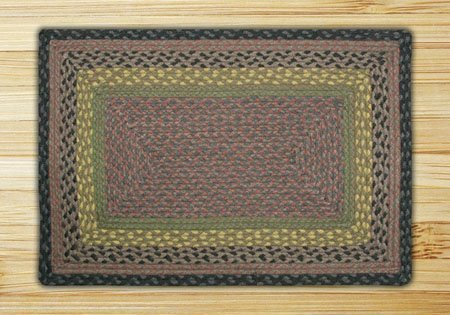 Brown, Black & Charcoal Rectangle Braided Rug 4'x6' Thumbnail