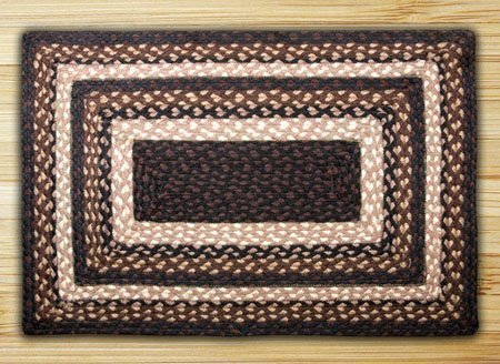 Mocha & Frappuccino Rectangle Braided Rug 2'x6' Thumbnail