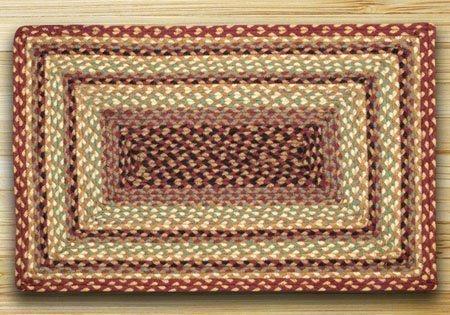 Burgundy, Gray & Cream Rectangle Braided Rug 2'x6' Thumbnail