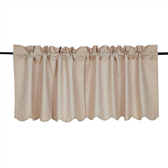 Charlotte Solid Natural Scalloped Tier Set of 2 24 x 36 Thumbnail