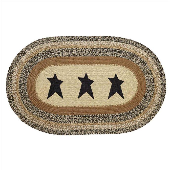 Kettle Grove Jute Rug Oval Stencil Star 36x60 Thumbnail