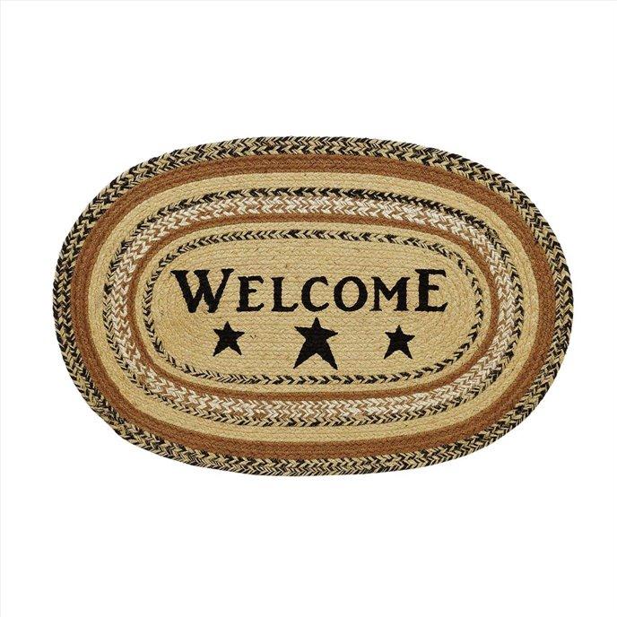 Kettle Grove Jute Rug Oval Stencil Welcome 20x30 Thumbnail