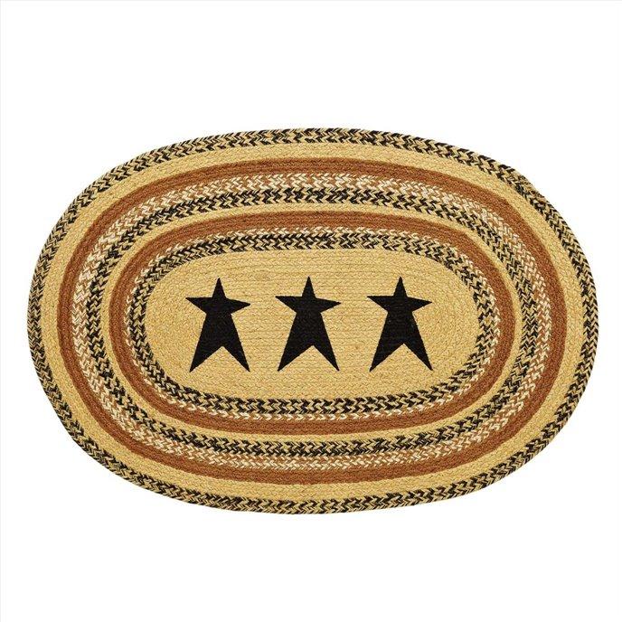 Kettle Grove Jute Rug Oval Stencil Star 24x36 Thumbnail