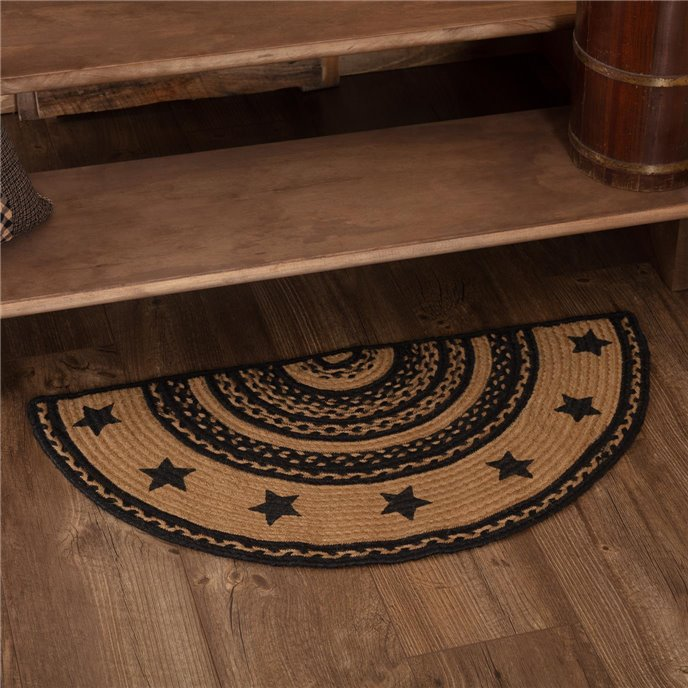 Farmhouse Jute Rug Half Circle Stencil Stars Border 16.5x33 Thumbnail