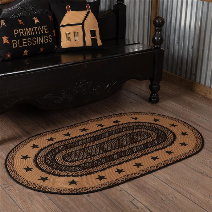 Farmhouse Jute Rug Oval Stencil Stars Border 36x60 Thumbnail