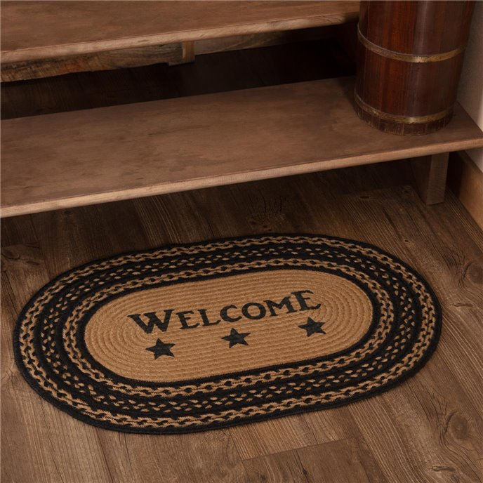 Farmhouse Jute Rug Oval Stencil Stars Welcome 20x30 Thumbnail