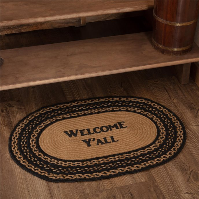 Farmhouse Jute Rug Oval Stencil Welcome Y'all 20x30 Thumbnail