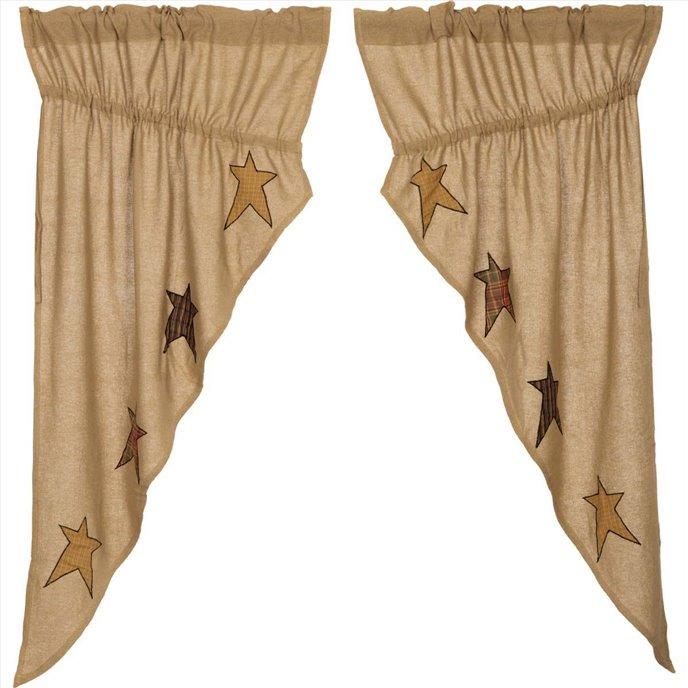 Stratton Burlap Applique Star Prairie Curtain set of 2 panels 63x36x18 Thumbnail