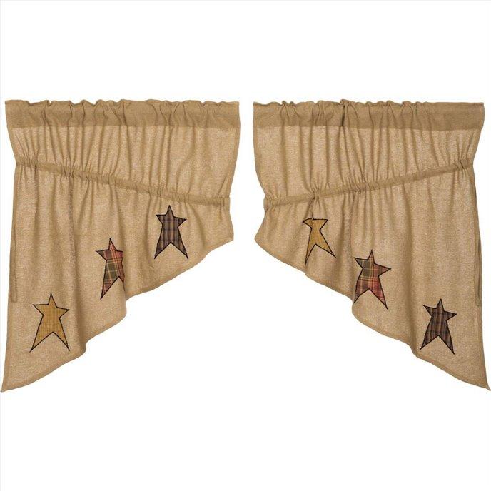 Stratton Burlap Applique Star Prairie Swag set of 2 36x36x18 Thumbnail