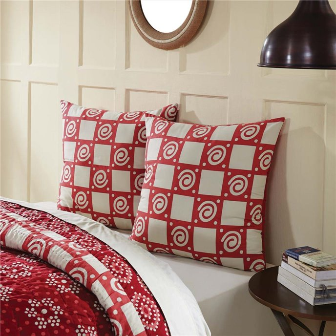 Paloma Crimson Fabric Euro Sham 26x26 Thumbnail