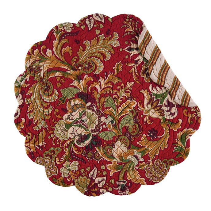 Jocelyn Red Round Quilted Placemat Thumbnail