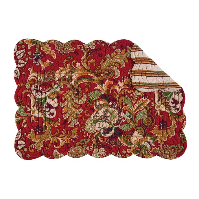 Jocelyn Red Rectangular Quilted Placemat Thumbnail