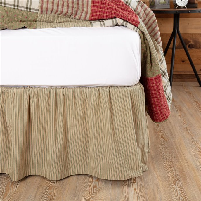 Prairie Winds Green Ticking Stripe King Bed Skirt 78x80x16 Thumbnail
