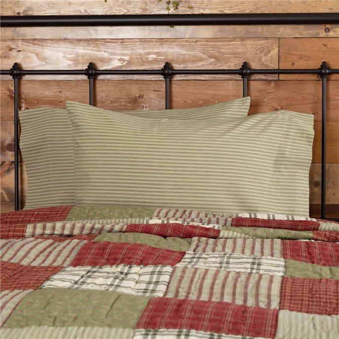 Prairie Winds Green Ticking Stripe Standard Pillow Case Set of 2 21x30 Thumbnail