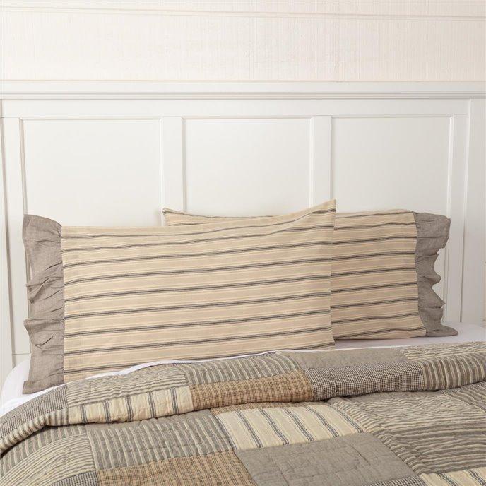Sawyer Mill Charcoal Stripe Ruffled Standard Pillow Case Set of 2 21x30 Thumbnail