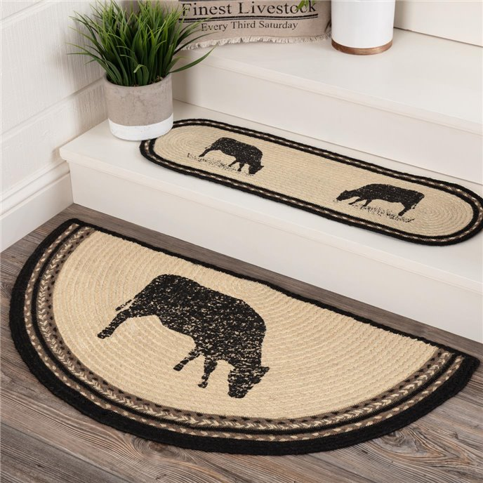 Sawyer Mill Charcoal Cow Jute Rug Half Circle 16.5x33 Thumbnail